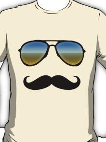Aviator Sunglasses and Handlebar Mustache T-Shirt