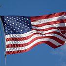 Patriotic American Flag against Clear Blue Sky by CuteNComfy