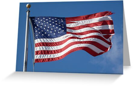 Patriotic American Flag against Clear Blue Sky by CuteNComfy