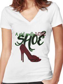 A Girl Spells Love SHOE Women's Fitted V-Neck T-Shirt