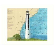 Cape Romain Lighthouse SC Nautical Chart Map Peek Art Print