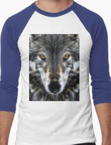 Wolf Inspirational Portrait Men's Baseball ¾ T-Shirt
