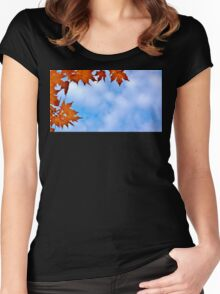 Backlit Maple Leaves in the Cloudy Sky Women's Fitted Scoop T-Shirt