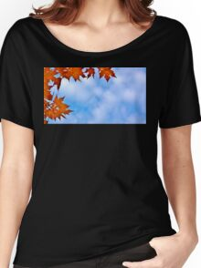 Backlit Maple Leaves in the Cloudy Sky Women's Relaxed Fit T-Shirt
