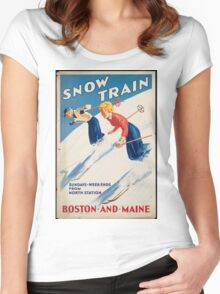 Vintage poster - snow train Women's Fitted Scoop T-Shirt