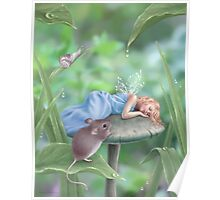 Sweet Dreams Sleeping Fairy & Mouse Poster