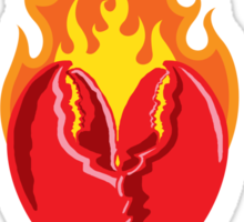 Fiery Lobster Claw Heart Sigil Sticker