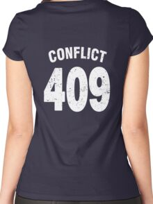 Team shirt - 409 Conflict, white letters Women's Fitted Scoop T-Shirt