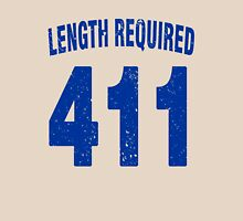 Team shirt - 411 Length Required, blue letters Unisex T-Shirt