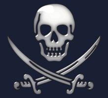 Glassy Pirate Skull & Sword Crossbones  One Piece - Short Sleeve