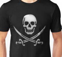 Glassy Pirate Skull & Sword Crossbones  Unisex T-Shirt
