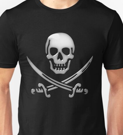 Glassy Pirate Skull & Sword Crossbones  Unisex T-Shirt