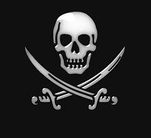 Glassy Pirate Skull & Sword Crossbones  T-Shirt