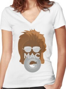 Vector MacGyver Hair Women's Fitted V-Neck T-Shirt