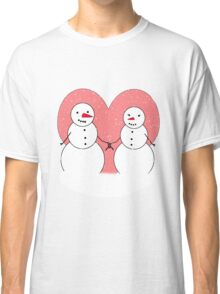 Cute Cartoon Snowmen Sweethearts Classic T-Shirt