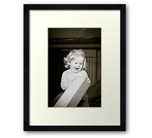 Abbie 2012 (black and white) with block laughing Framed Print