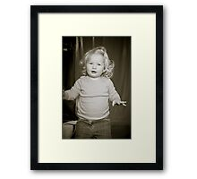 Abbie 2012 (black and white) with block laughing 3 Framed Print