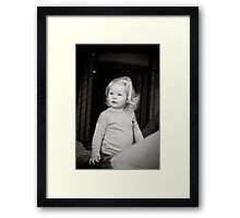 Abbie 2012 (black and white) with block 4 Framed Print