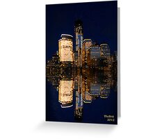 Reflections of The Freedom Tower and down town Manhattan Greeting Card