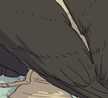Castiel and Birds Sticker