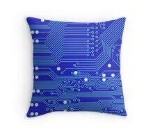 Blue Circuit Board Throw Pillow