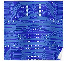 Blue Circuit Board Poster