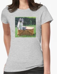 Cute Kittens Escaping from Basket Womens Fitted T-Shirt