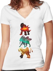 the legendary trio (beasts) Women's Fitted V-Neck T-Shirt