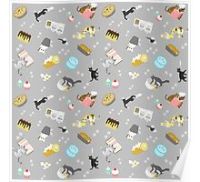 Cats Baking Cakes and other Sweets, in Grey Poster