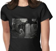 Ghostly Girl By Her Grave, Sleepy Hollow Cemetery Womens Fitted T-Shirt