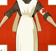 Red Cross Nurse Help Vintage WW2 War Advertisement Sticker