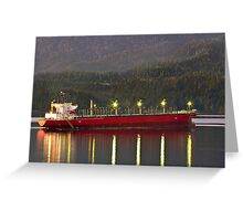 Freighter at Sunset Greeting Card