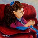 Violet sewing by Hilary Robinson