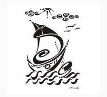 Partons la mer est belle by Genevieve Chausse One Piece - Short Sleeve