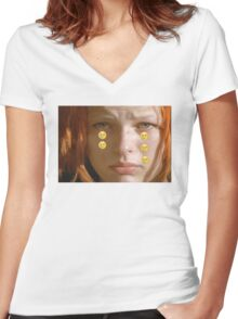 Leeloo Sad Women's Fitted V-Neck T-Shirt
