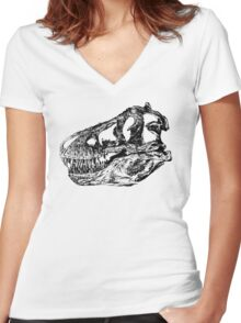 Dinosaur: T-Rex - Black Ink Women's Fitted V-Neck T-Shirt