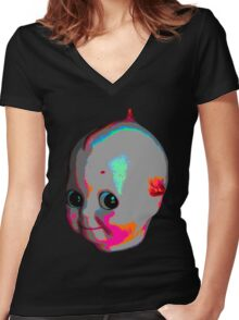 Tripped Out Doll Head Women's Fitted V-Neck T-Shirt