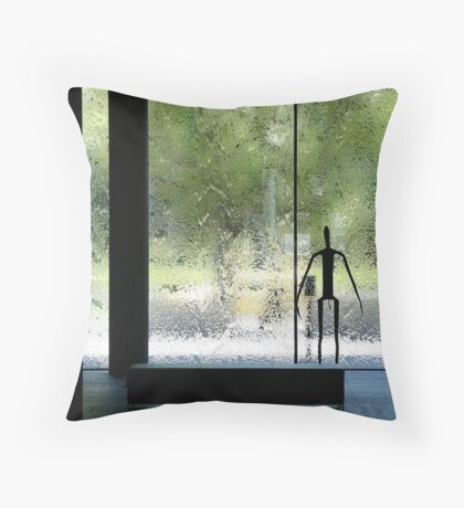 Thin figure looking out Throw Pillow