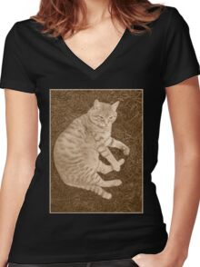 Fat Cat In the Grass Women's Fitted V-Neck T-Shirt
