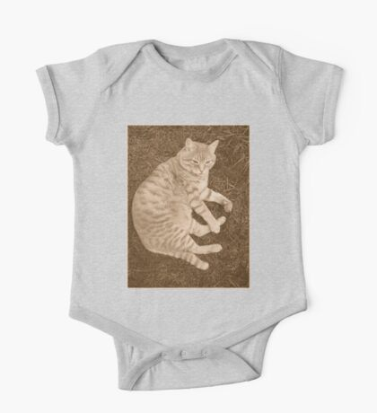 Fat Cat In the Grass One Piece - Short Sleeve