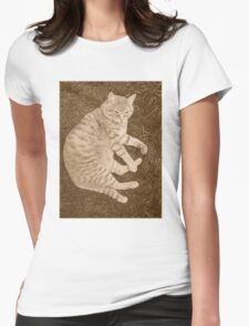Fat Cat In the Grass Womens Fitted T-Shirt