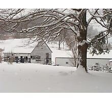 COUNTRY BARNS IN THE SNOW Photographic Print