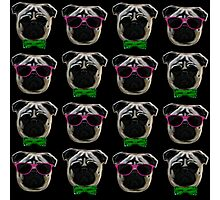 """Cool Pugs"" pink/green Photographic Print"