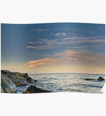 Lenticular clouds on the horizon Poster
