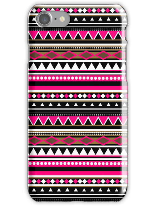 Pink Aztec Pattern iPhone & iPod Case by sirmaverick
