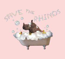 Splish Splash, Rhino Taking a Bath! One Piece - Long Sleeve