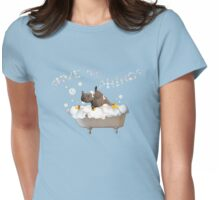 Splish Splash, Rhino Taking a Bath! Womens Fitted T-Shirt
