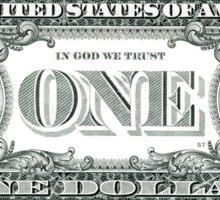 US $1 Dollar Bill Banknote Sticker Sticker