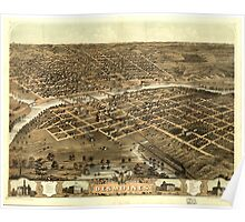 Panoramic Maps Bird's eye view of the city of Des Moines the capital of Iowa 1868 Poster