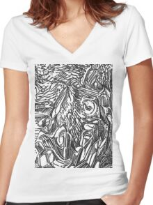 freestyle ink drawing 002 Women's Fitted V-Neck T-Shirt